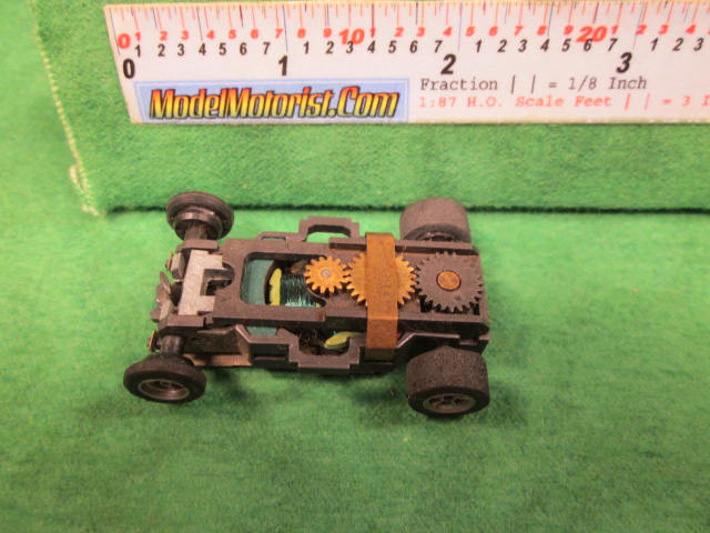 Top view of Aurora AFX Super-Traction Slot Car Chassis (pre Magna-Traction)