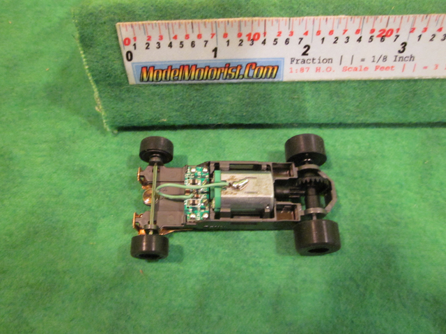 Top view of Aurora Tomy Mega G+ Slot Car Chassis