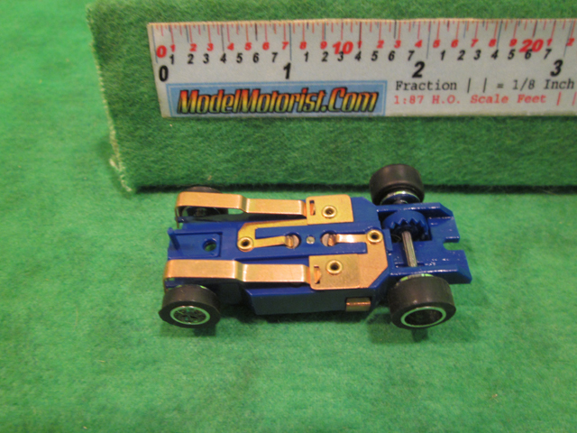 Bottom view of Dash IROC Blue HO Slot Car Chassis