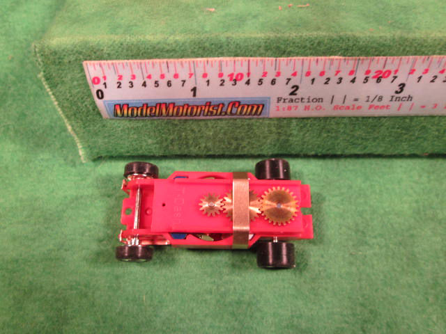 Top view of Dash IROC Corrected Red HO Slot Car Chassis