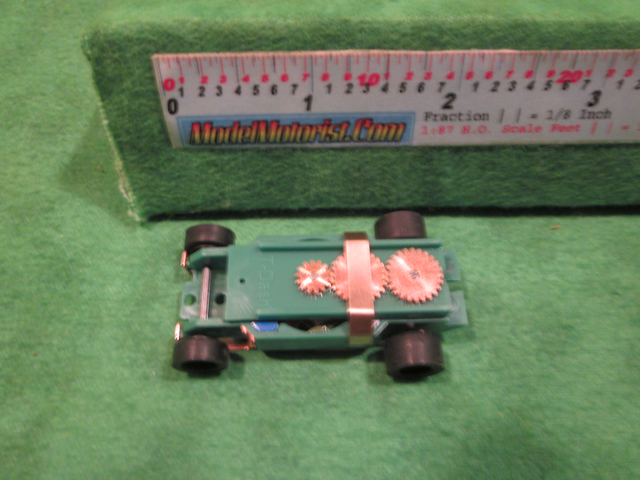 Top view of Dash IROC Green HO Slot Car Chassis