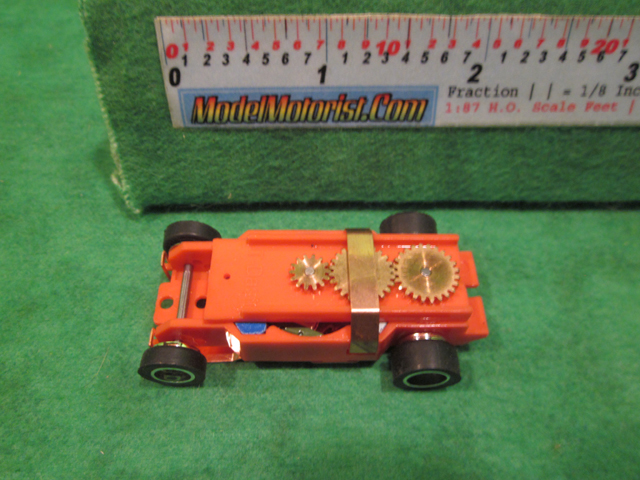 Top view of Dash IROC Error Red HO Slot Car Chassis