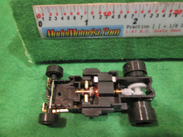 Top view of JAG Hobbies DR-1 HO Slot Car Chassis