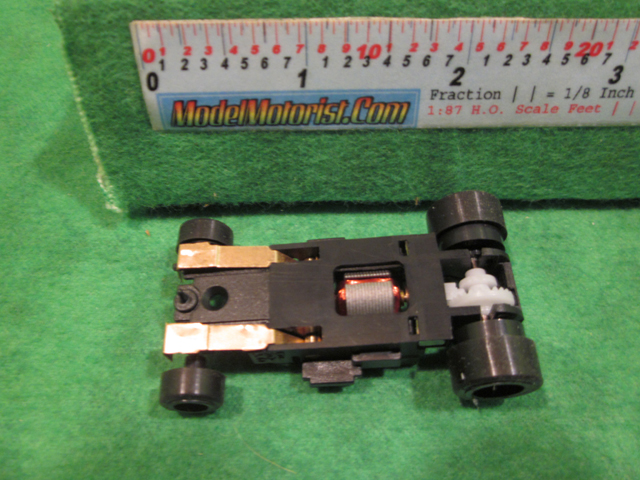 Bottom view of JAG Hobbies DR-1 HO Slot Car Chassis