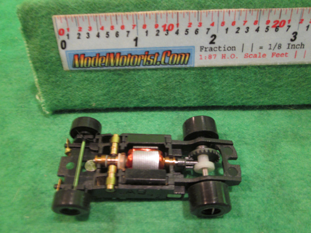 Top view of JAG Hobbies TR-3 HO Slot Car Chassis