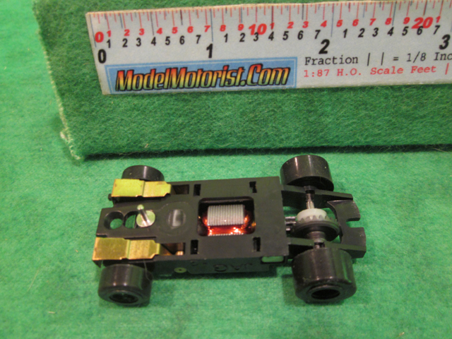 Bottom view of JAG Hobbies TR-3 HO Slot Car Chassis