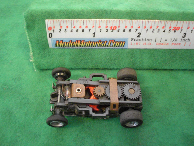 Top view of Aurora AFX Magna-Traction Flamethrower Slot Car Chassis