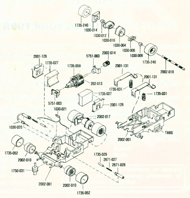 Exploded view of Aurora AFX Blazin' Brakes Slot Car Chassis