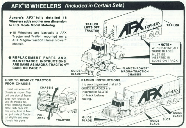 Exploded view of Aurora AFX Lighted Big Rigs Slot Car Chassis