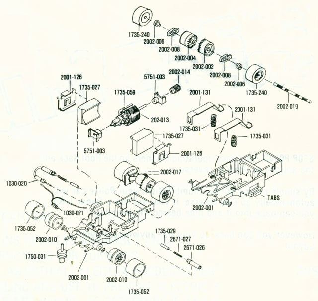 Exploded view of Aurora AFX Cat's Eyes Slot Car Chassis