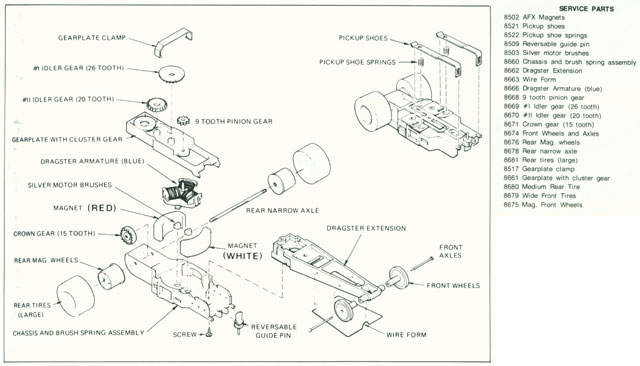 Exploded view of Aurora AFX Dragster Slot Car Chassis (pre Magna-Traction)