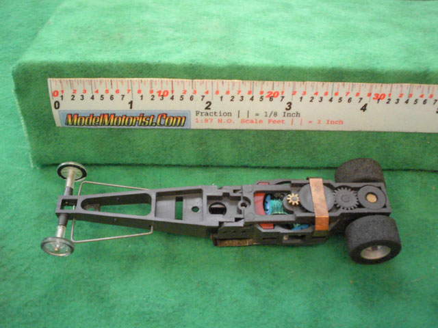 Top view of Aurora AFX Dragster Slot Car Chassis (pre Magna-Traction)