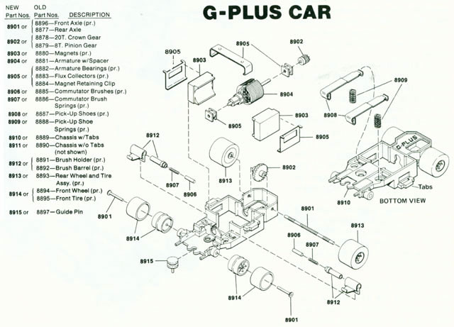 Exploded view of Aurora AFX G-Plus Narrow Fixed Axle Slot Car Chassis