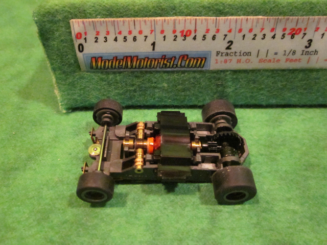 Top view of Aurora Tomy Mega G 1.5 Slot Car Chassis