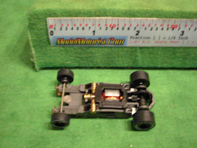 Top view of Aurora Tomy Mega G 1.7 Slot Car Chassis