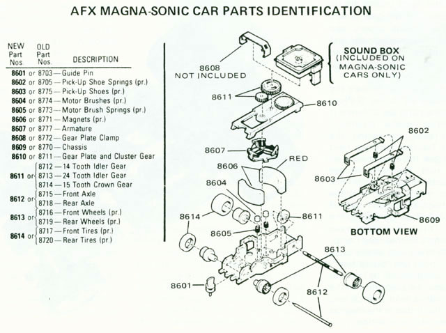Exploded view of Aurora AFX Magna-Sonic 2 Arm Clip Slot Car Chassis