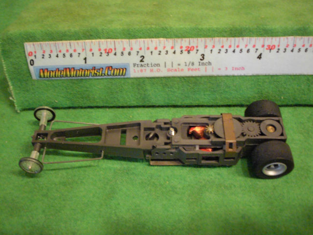 Top view of Aurora AFX Magna-Traction Specialty Dragster Slot Car Chassis