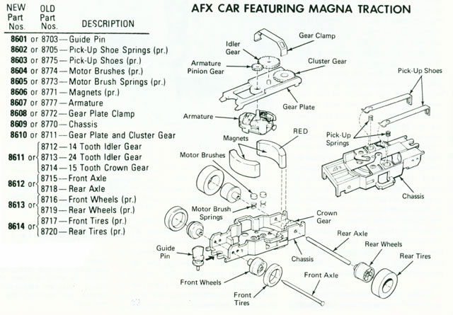 Exploded view of Aurora AFX Magna-Traction Slot Car Chassis