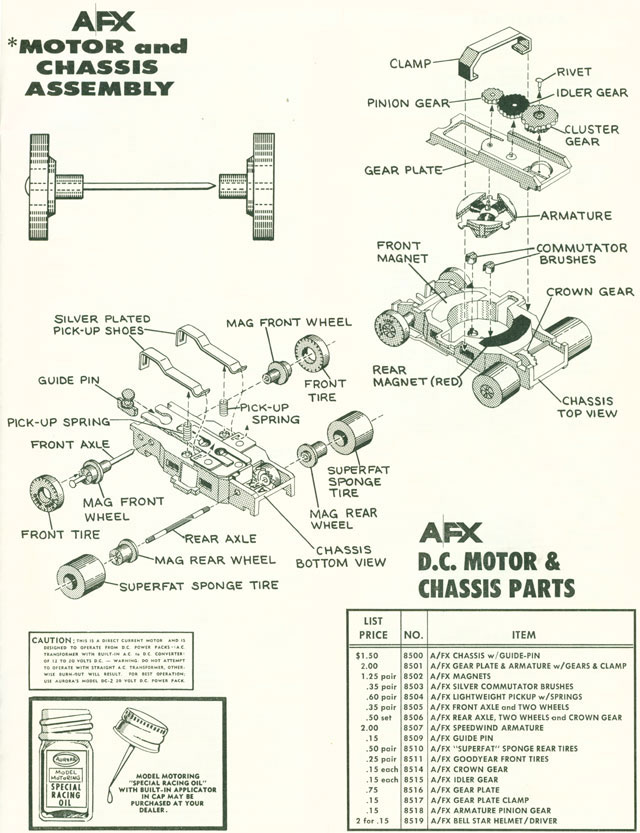 Exploded view of Aurora AFX Slot Car Chassis (pre Magna-Traction)