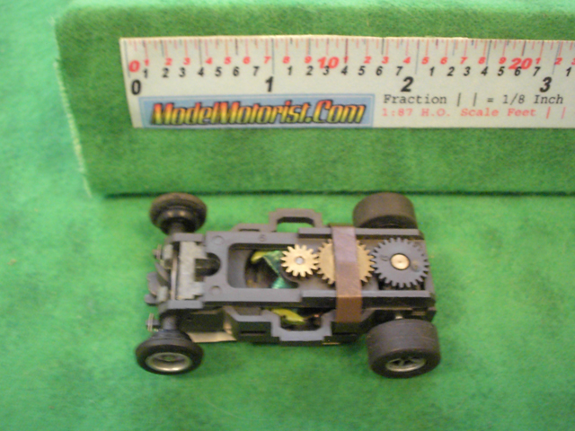 Top view of Aurora AFX Slot Car Chassis (pre Magna-Traction)