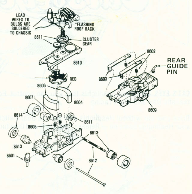 Exploded view of Aurora AFX Stop Police Slot Car Chassis