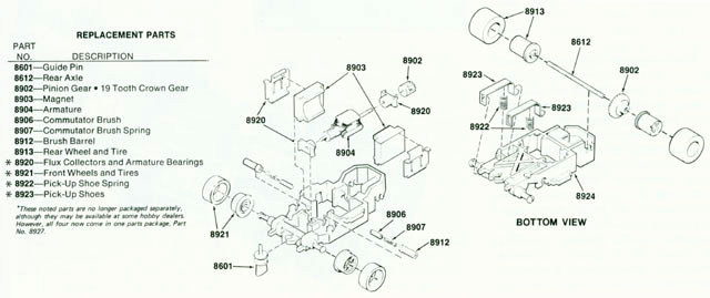 Exploded view of Aurora AFX Super Magna-Traction Slot Car Chassis
