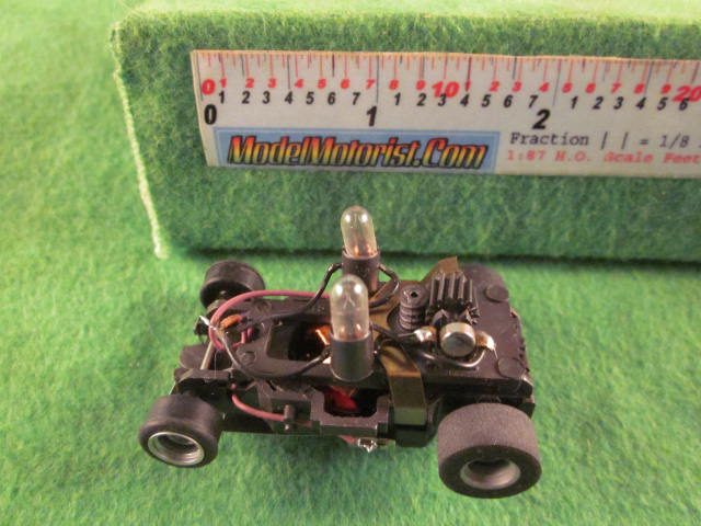 Top view of Aurora AFX Stop Police Slot Car Chassis