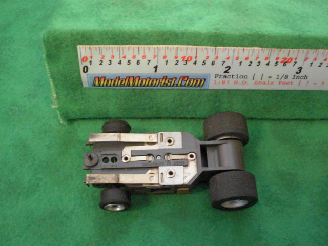 Bottom view of Aurora AFX Specialty Slot Car Chassis (pre Magna-Traction)