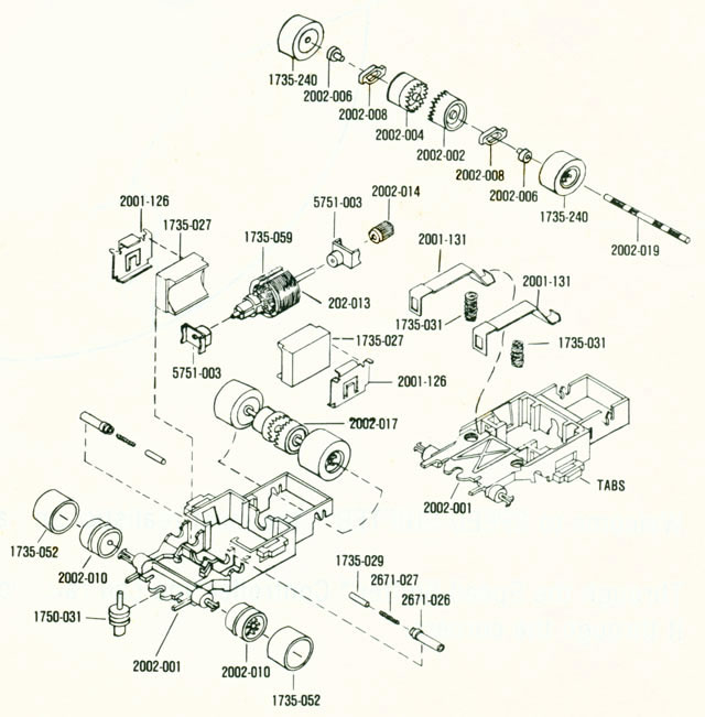 Exploded view of Aurora AFX Speed Shifters Slot Car Chassis