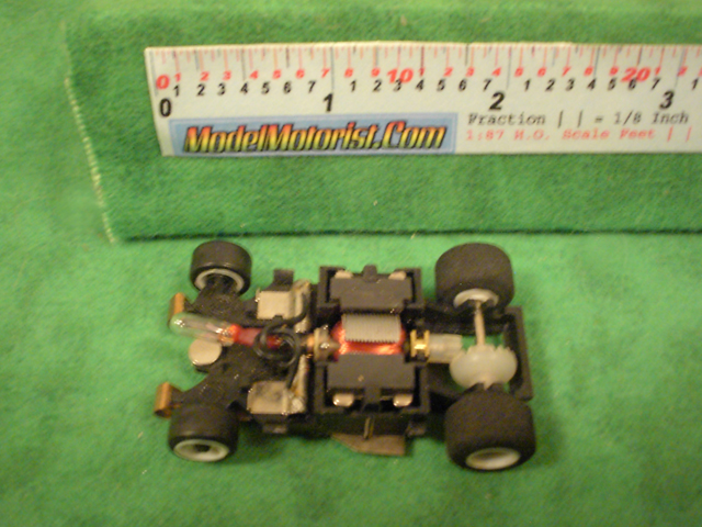 Top view of Amrac Lighted HO Scale Slot Car Chassis