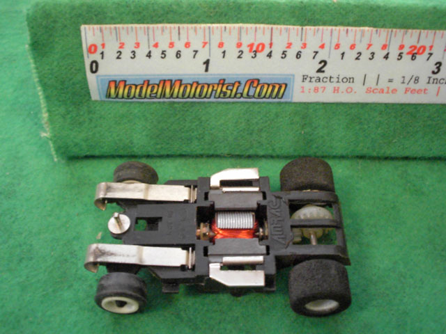 Bottom view of Amrac HO Scale Slot Car Chassis