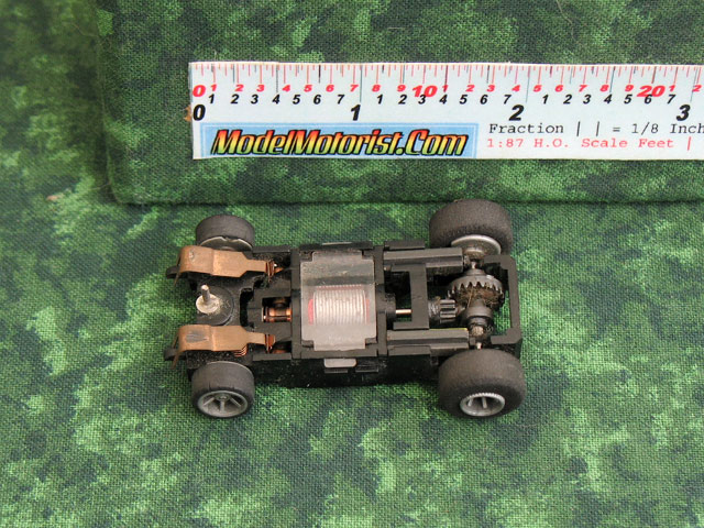 Bottom view of Arco Falc HO Scale Slot Car Chassis