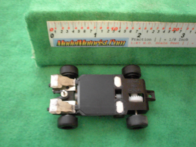 Bottom view of Artin HO Scale Slot Car Chassis
