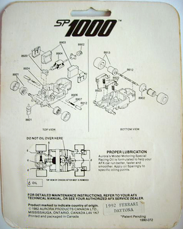 Exploded view of Aurora AFX SP-1000 Slot Car Chassis