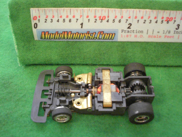 Top view of Aurora Speed-Steer A HO Slotless Car Chassis