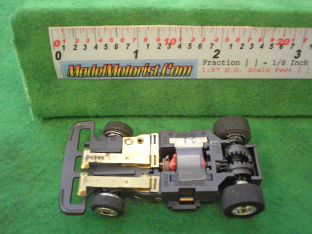 Bottom view of Aurora Speed-Steer B HO Slotless Car Chassis