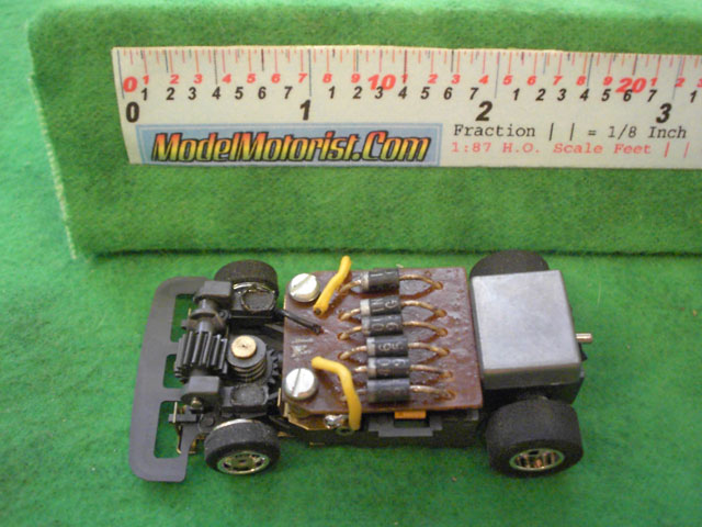 Top view of Aurora Speed-Steer Jam HO Slotless Car Chassis
