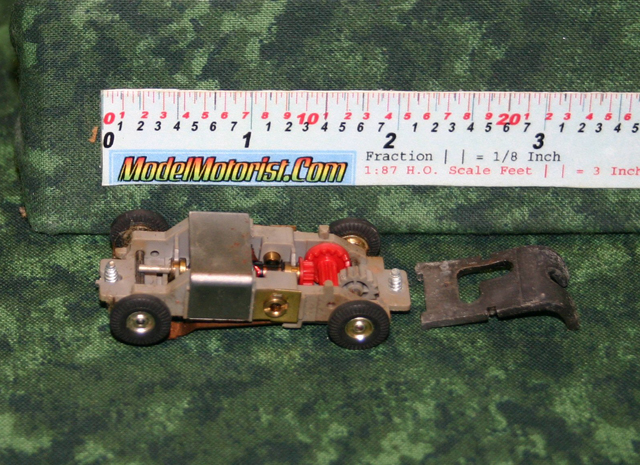 Bottom view of Atlas Slim Line / Panther HO Scale Slot Car Chassis