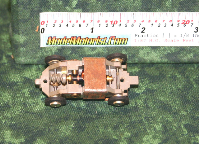 Top view of Atlas Midget HO Scale Slot Car Chassis