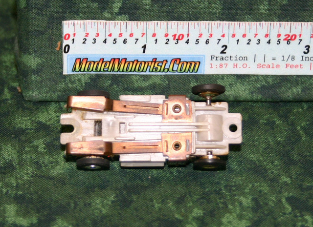Bottom view of Atlas Zinger HO Scale Slot Car Chassis