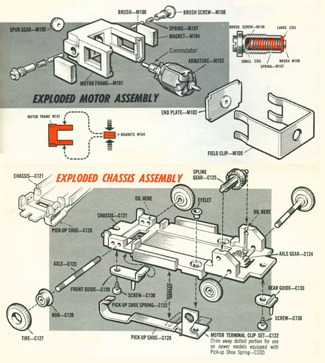 Exploded view of Atlas HO Scale Slot Car Chassis
