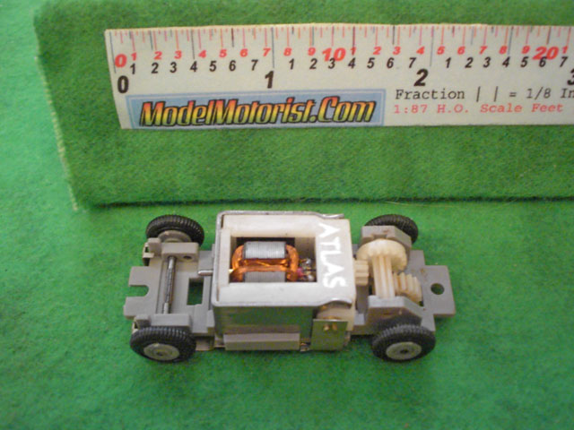 Top view of Atlas HO Scale Slot Car Chassis