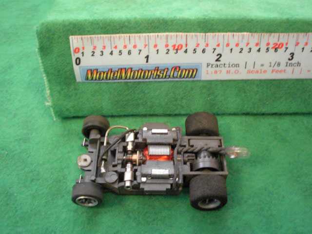 Top view of Aurora AFX Blazin' Brakes Slot Car Chassis