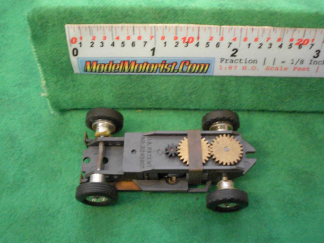 Top view of Aurora Thunderjet Formula 1 / Slim Line Slot Car Chassis