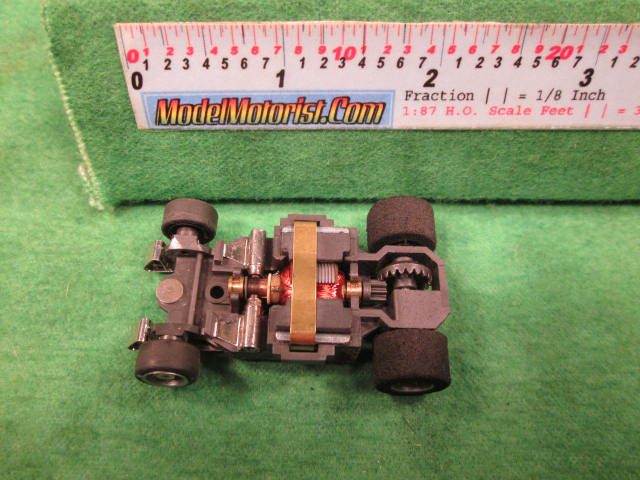Top view of Aurora AFX G-Plus Wide Snap-In Axle Slot Car Chassis
