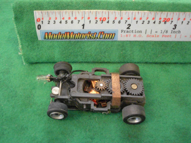Top view of Aurora AFX Magna-Traction Lighted Slot Car Chassis