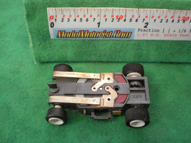 Bottom view of Aurora AFX Magna-Traction Slot Car Chassis