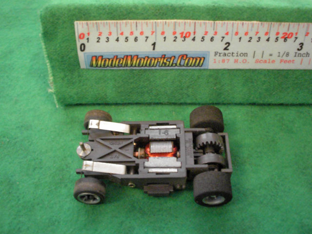 Bottom view of Aurora AFX Speed Shifters Slot Car Chassis