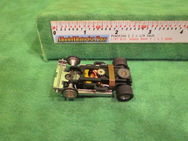 Top view of Aurora Super II Slot Car Chassis (pre Magna-Traction)