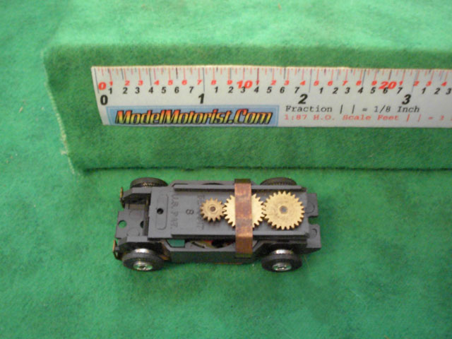 Top view of Aurora Thunderjet Slot Car Chassis